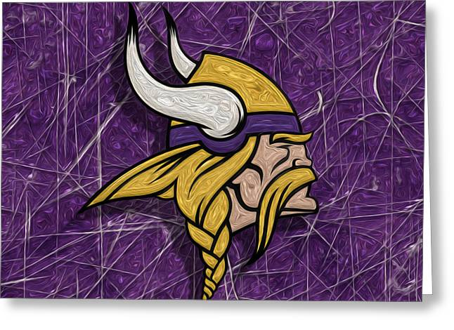 Division Greeting Cards - Minnesota Vikings Greeting Card by Jack Zulli