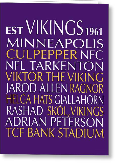 Football Words Greeting Cards - Minnesota Vikings Greeting Card by Jaime Friedman
