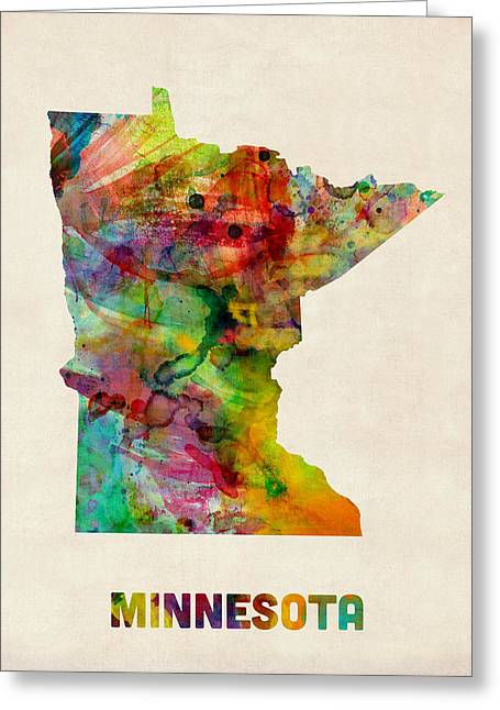 United States Map Greeting Cards - Minnesota Watercolor Map Greeting Card by Michael Tompsett