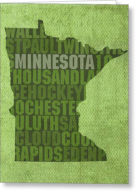 Minnesota Art Greeting Cards - Minnesota Word Art State Map on Canvas Greeting Card by Design Turnpike