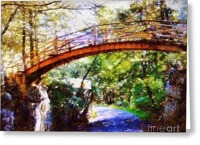 The Wooden Cross Greeting Cards - Minnewaska Wooden Bridge Greeting Card by Janine Riley