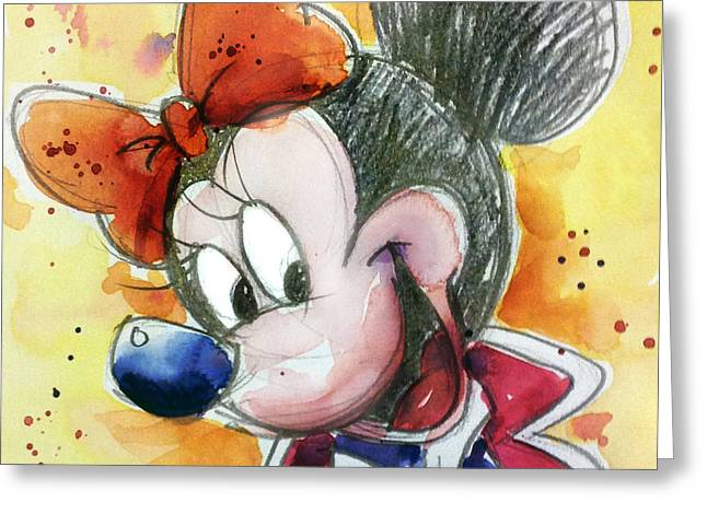 Mouse Greeting Cards - Minnie Mouse Greeting Card by Andrew Fling
