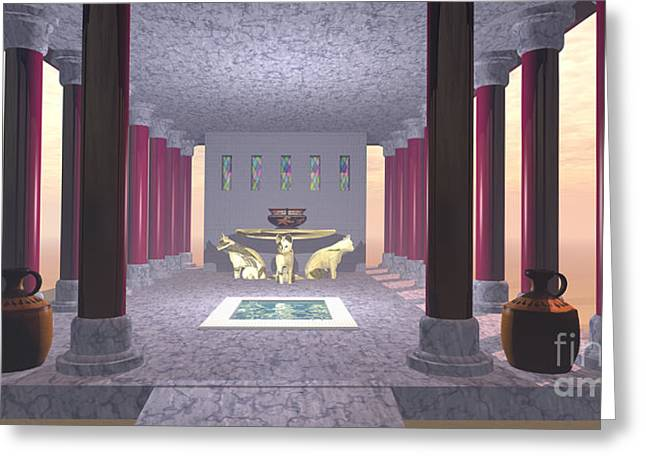 Historical Pictures Digital Art Greeting Cards - Minoan Temple Greeting Card by Corey Ford