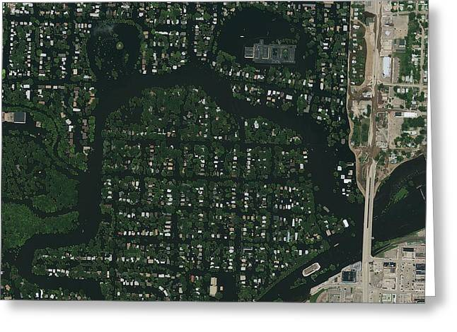 Flooding Greeting Cards - Minot flooding, USA, satellite image Greeting Card by Science Photo Library