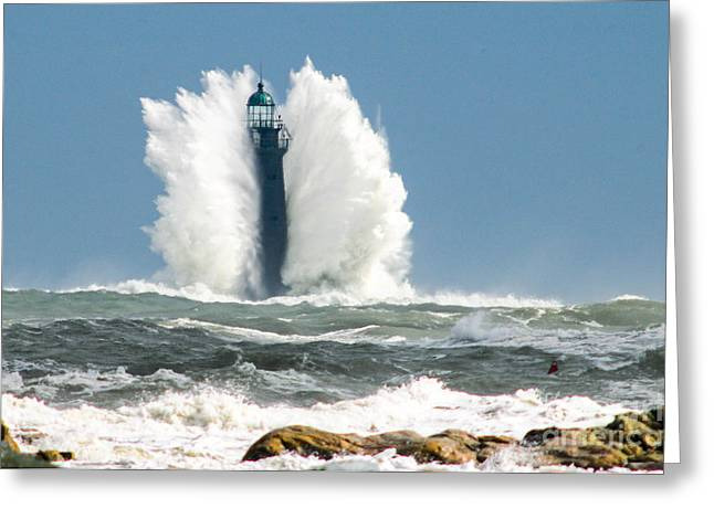 Cohasset Greeting Cards - Minot Light Angel Wings Greeting Card by Michael Snow