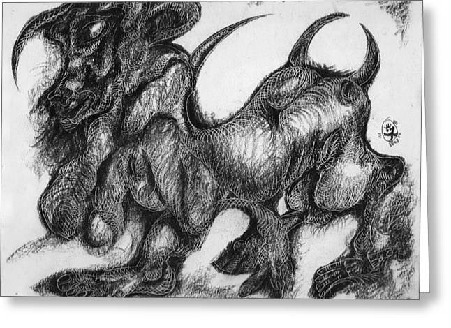 Ion Vincent Danu Greeting Cards - Minotaur Greeting Card by Ion vincent DAnu