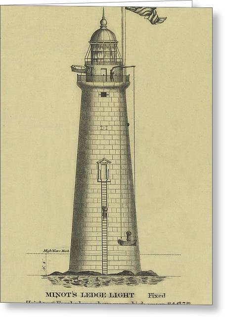 U.s. Coast Guard Drawings Greeting Cards - Minots Ledge Lighthouse Greeting Card by Jerry McElroy - Public Domain Image