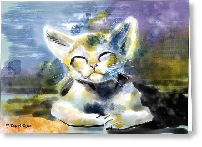 Digital Watercolors Greeting Cards - Minou Greeting Card by Francoise Dugourd-Caput
