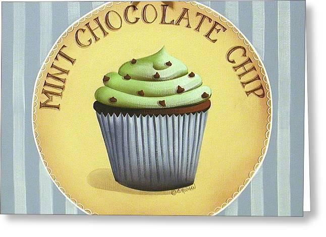 Best Sellers -  - Catherine White Greeting Cards - Mint Chocolate Chip Cupcake Greeting Card by Catherine Holman
