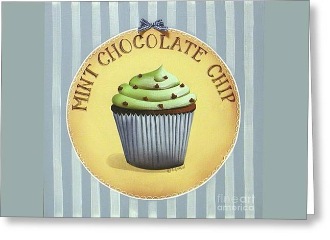 Catherine White Paintings Greeting Cards - Mint Chocolate Chip Cupcake Greeting Card by Catherine Holman