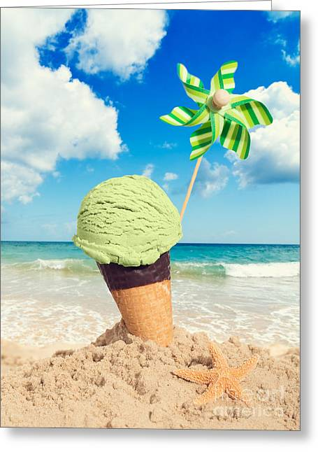 Pinwheel Greeting Cards - Mint Icecream Greeting Card by Amanda And Christopher Elwell