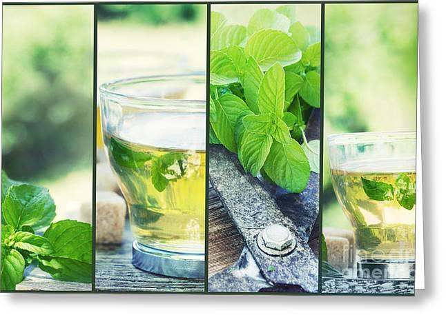 Mythja Photographs Greeting Cards - Mint tea collage Greeting Card by Mythja  Photography