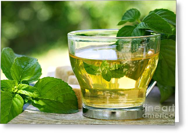 Spearmint Greeting Cards - Mint tea Greeting Card by Mythja  Photography