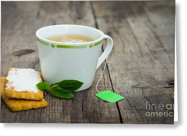 Vintage Teacup Greeting Cards - Mint Tea with cookie Greeting Card by Aged Pixel