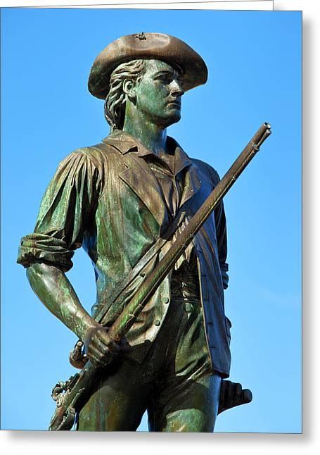 Minuteman Statue At Old North Bridge Greeting Card by Brian Jannsen