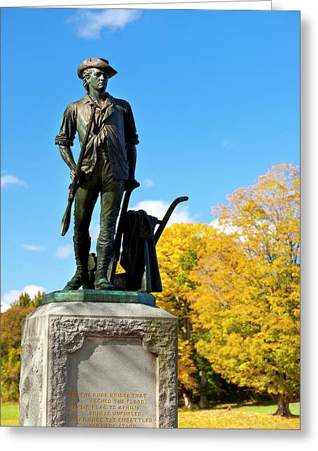 Minuteman Statue In Autumn At Old North Greeting Card by Brian Jannsen