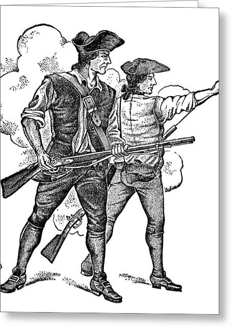 Minuteman Greeting Cards - MINUTEMEN, 1770s Greeting Card by Granger