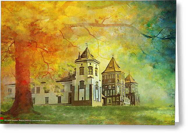 Historic Statue Paintings Greeting Cards - Mir Castle Complex Greeting Card by Catf