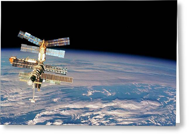 Mir Space Station From Space Shuttle Greeting Card by Nasa