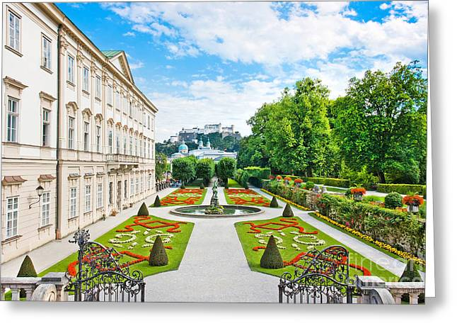 Salzburg Greeting Cards - Mirabell Gardens in Salzburg Greeting Card by JR Photography
