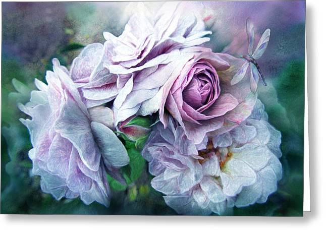Florence Mixed Media Greeting Cards - Miracle Of A Rose - Lavender Greeting Card by Carol Cavalaris