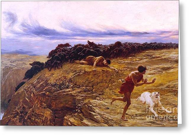 Riviere Paintings Greeting Cards - Miracle of the Gaderene swine Greeting Card by Pg Reproductions