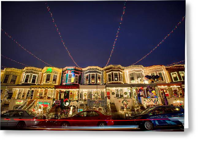 Row Homes Greeting Cards - Miracle on 34th Street Baltimore Greeting Card by Geoffrey Baker