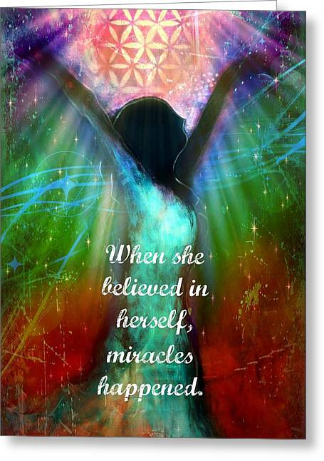 Empowerment Mixed Media Greeting Cards - Miracles Happen Greeting Card by Tara Catalano