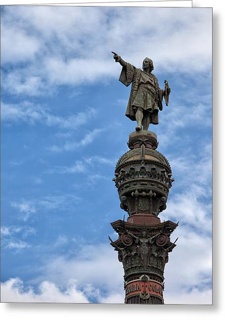 Famous Person Greeting Cards - Mirador de Colom in Barcelona Greeting Card by Artur Bogacki