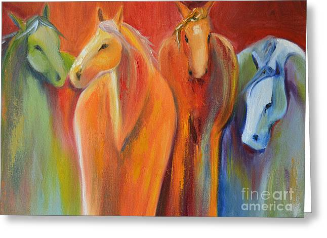 Wild Horses Greeting Cards - Mirage Greeting Card by Cher Devereaux