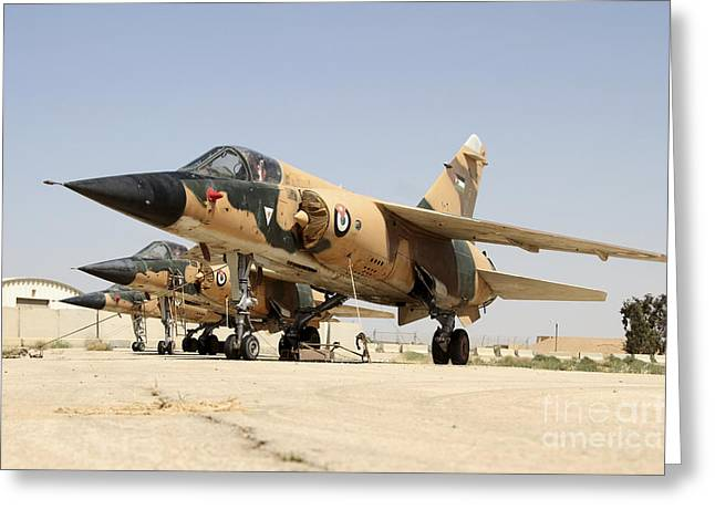 Jordanian Greeting Cards - Mirage F.1 Fighter Planes Of The Royal Greeting Card by Ofer Zidon
