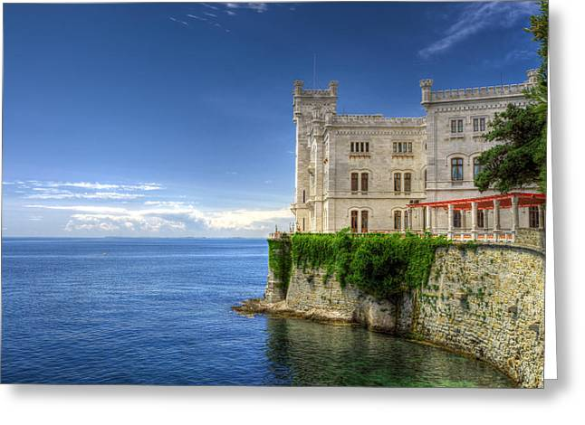 Maximilian Park Greeting Cards - Miramare Castle side view Greeting Card by Ivan Slosar