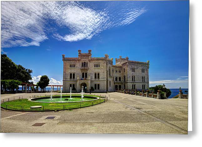 Maximilian Park Greeting Cards - Miramare Castle with fountain Greeting Card by Ivan Slosar