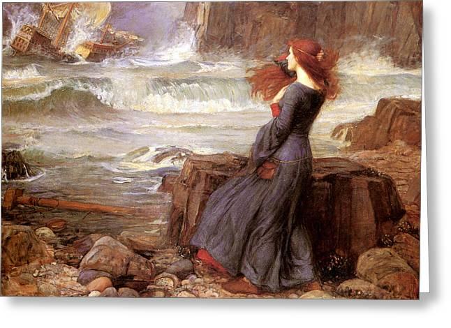 Miranda Greeting Cards - Miranda and The Tempest Greeting Card by John William Waterhouse