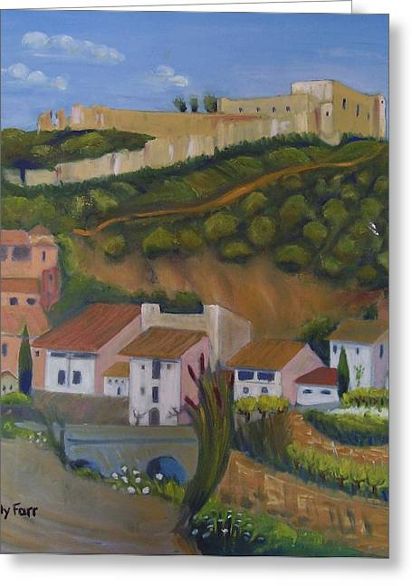 Catalunya Paintings Greeting Cards - Miravet with castle Greeting Card by Molly Farr