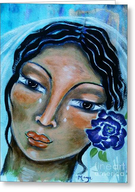 The Sacred Feminine Greeting Cards - Miriamne Greeting Card by Maya Telford