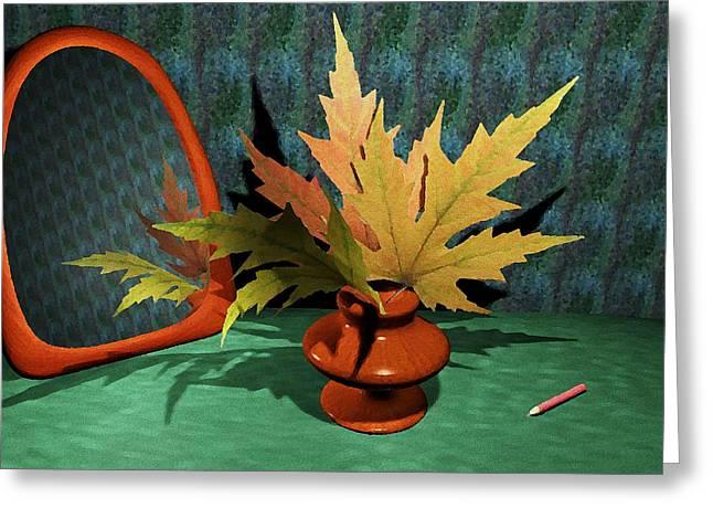 Interior Still Life Digital Art Greeting Cards - Mirror and Leaves Greeting Card by Anastasiya Malakhova