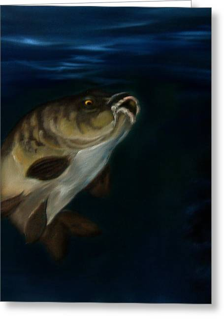 Photoshop Paintings Greeting Cards - Mirror Carp 4 Greeting Card by Cynthia Adams