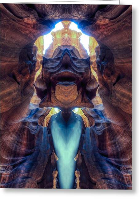 Out Of This World Greeting Cards - Mirror images of the Antelope canyon - Alien king Greeting Card by Lilia D
