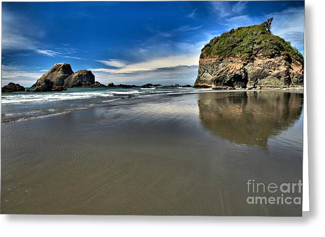 Mirror In The Sand Greeting Card by Adam Jewell