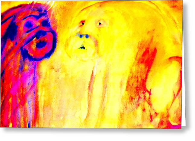 Mental Process Paintings Greeting Cards - Mirror looking back at me  Greeting Card by Hilde Widerberg