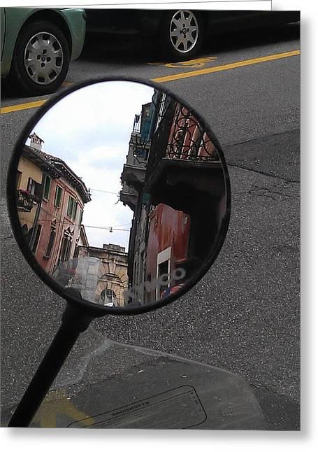 Motorcycles Pyrography Greeting Cards - Mirror Mirror Greeting Card by Tamara Kacevas