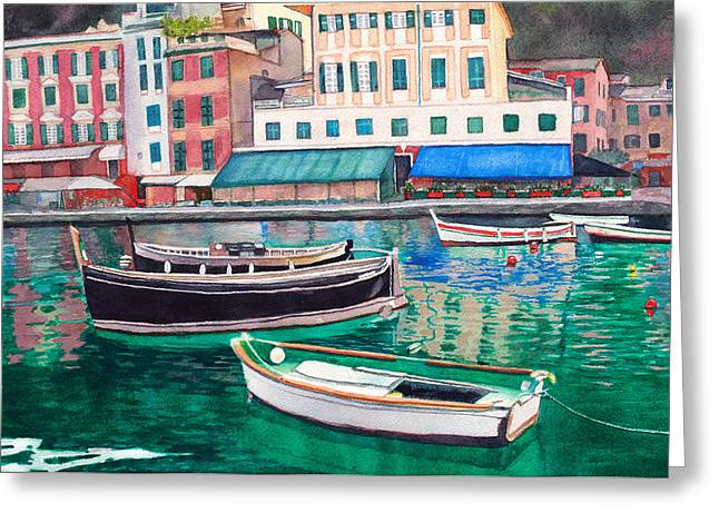 Fishing Boats Greeting Cards - Mirror of Calm Waters Greeting Card by Jeannine Marx Fruci