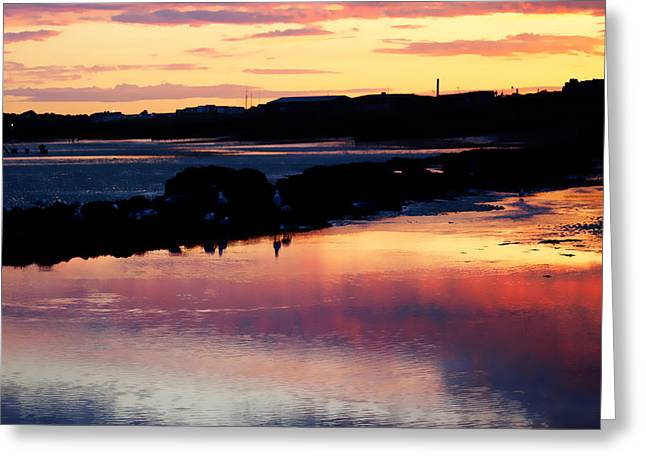 Sunset Reflecting In Water Greeting Cards - Mirror of Sand Greeting Card by Sharon Lisa Clarke