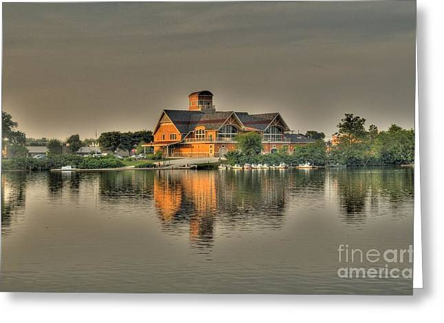 Mirrored Boat House Greeting Card by Jim Lepard