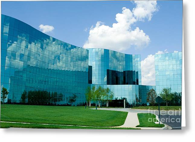 Ultra Modern Photographs Greeting Cards - Mirrored Office Buildings  Greeting Card by Jim Pruitt