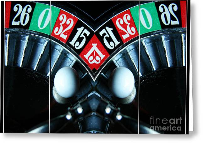Black Ball Mixed Media Mixed Media Greeting Cards - Mirrored Roulette Wheel Triptych Greeting Card by M and L Creations