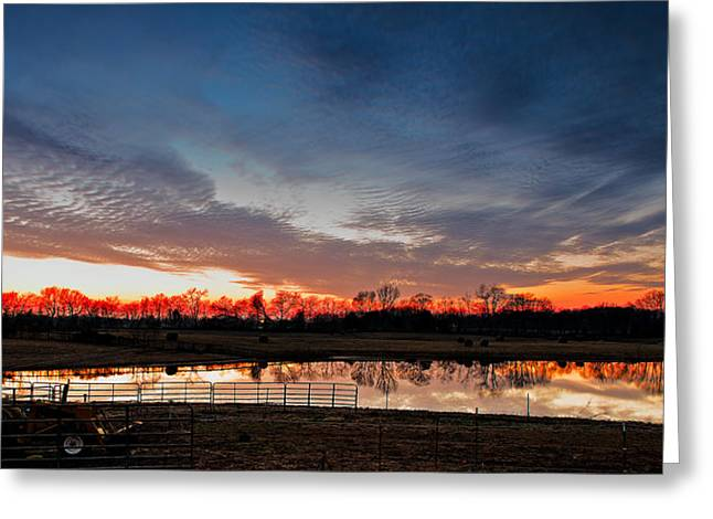 Tn Barn Greeting Cards - Mirrored Sunset  Greeting Card by Brett Engle