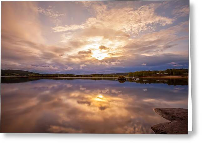 Recently Sold -  - Sunset In Norway Greeting Cards - Mirrors Greeting Card by Rose-Maries Pictures