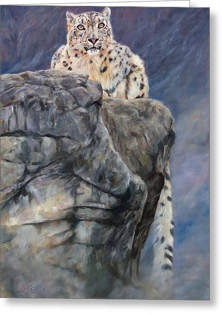 Snow Leopard Greeting Cards - Miruchass Realm Greeting Card by David Stribbling